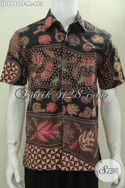 Kemeja Batik Elegan Lengan Pendek, Baju Batik Cowok Ukruan M Motif Unik Nan Mewah, Busana Batik Premium Proses Tulis Daleman Pake Furing [LD4840TF-M]