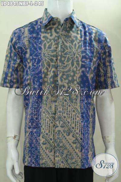 Baju Tenun Batik Motif Mewah Berkelas, Pakaian Pria Lengan Pendek Warna Biru Kombinasi Abu-Abu Daleman Full Furing Lebih Mewah Dan Berkelas [LD4845NBF-L]