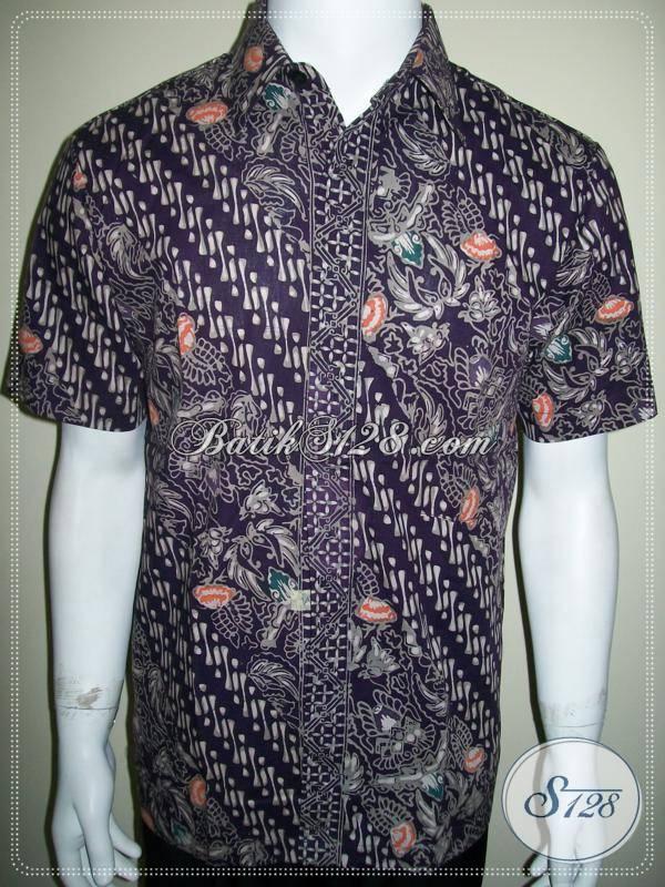 Kemeja Batik Ungu Baju Batik Kerja Pria Modern Ld486ctc