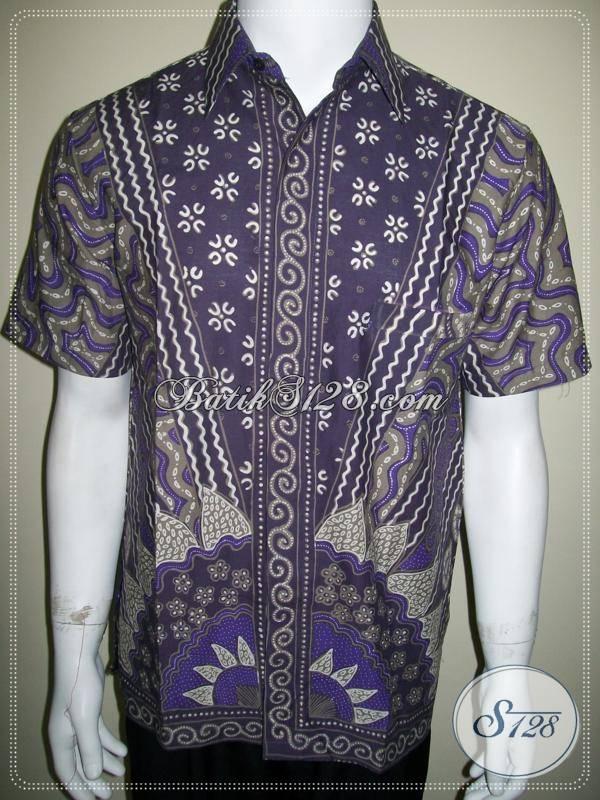 Kemeja Batik Ungu, Batik Kerja Pria Motif Bagus [LD489T-M]
