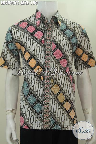 Baju Hem Batik Parng Hadir Dengan Desain Modis Dan Warna Menarik, Busana Batik Lengan Pendek Modis Bahan Halus Bikin Cowok Tampan Dan Mempesona [LD4900CT-XL]