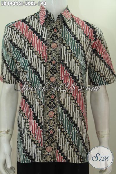 Hem Batik Parang Elegan Model Terbaru Modis Dan Berkelas, Pakaian Batik Cap Tulis Buatan Solo Kwalitas Spesial Harga Terjangkau [LD4904CT-XXL]
