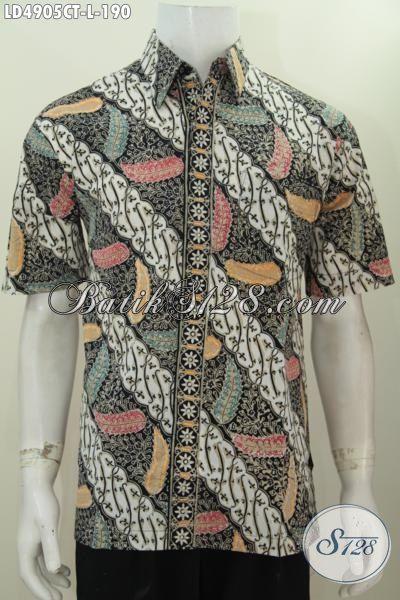 Jual Kemeja Batik Parang Modis Desain Terkini, Baju Batik Seragam Kerja Pria Dewasa Berbahan Halus Proses Cap Tulis Kwalitas Istimewa [LD4905CT-L]