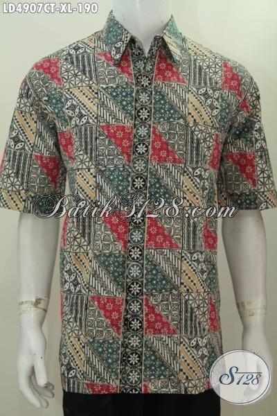 Hem Trendy Lengan Pendek Berbahan Halus Batik Cap Tulis Berpadu Warna Elegan Yang Bikin Cowok Makin Terlihat Tampan Maksimal, Size XL