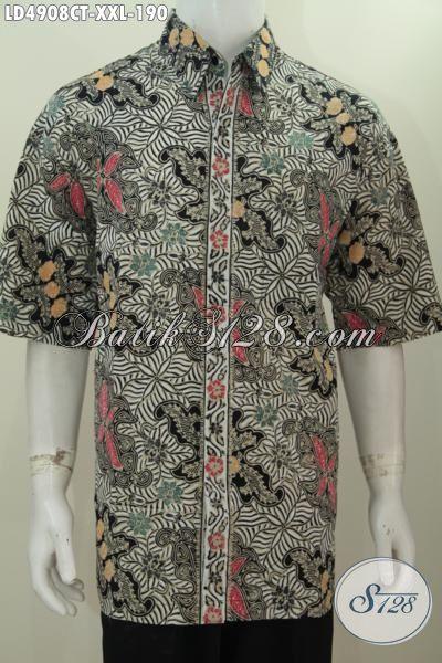 Pakaian Batik Keren Ukuran Jumbo Spesial Buat Pria Berbadan Gemuk, Baju Batik Kwalitas Halus Model Lengan Pendek Motif Trendy Proses Cap Tulis, Size XXL