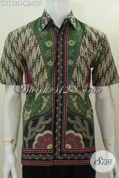 Pakaian Batik Etnik Modis Motif Klasik Desain Istimewa, Hem Batik Lengan Pendek Spesial Buat Pria Kantoran Tampil Modis Dan Berkarakter Hanya Dengqan 100 Ribuan, Size M