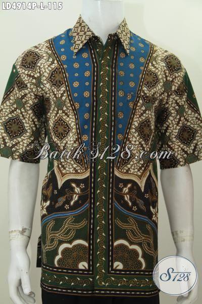 Baju Hem Pria Karir Bahan Batik Klasik Printing Buatan