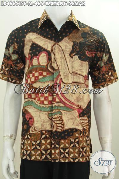 Kemeja Lengan Pendek Elegan Dan Mewah Motif Wayang Semar, Baju Batik Premium Motif Proses Tulis Soga Bahan Halus Adem Nyaman Di Pakai, Size M