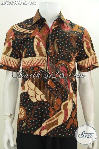 Baju Kemeja Batik Lengan Pendek Tulis Tangan, Pakaian Batik Jawa Etnik Buatan Solo Kwalitas Mewah, Size M