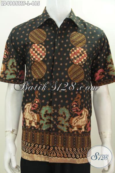 Baju Batik Tulis Lengan Pendek Buat Pria, Baju Kerja Kantoran Motif Bagus Bahan Halus Tulis Soga Mewah Dengan Daleman Full Furing, Size L