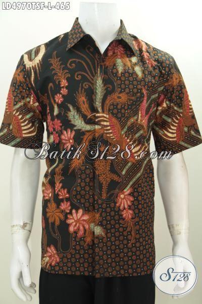 Pusat Busana Batik Online, Jual Kemeja Lengan Pendek Motif Keren Berpadu Warna Elegan Berbahan Halus Proses Tulis Soga Daleman Pake Furing, Size L