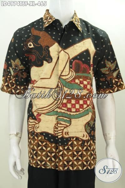 Pakaian Batik Lengan Pendek Istimewa Berbahan Halus Motif Wayang Semar Proses Tulis Warna Soga, Cocok Untuk Acara Formal Dan Santai, Size XL