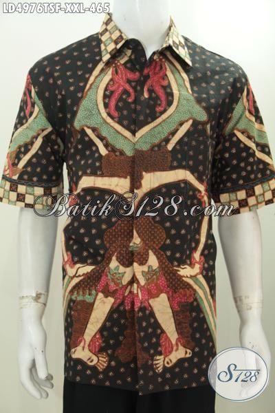 Baju Batik Lengan Pendek Ukuran Jumbo Proses Tulis, Pakaian Batik Hem Halus Full Furing Istimewa Buat Kerja Dan Berkelas Untuk Kondangan, Size XXL