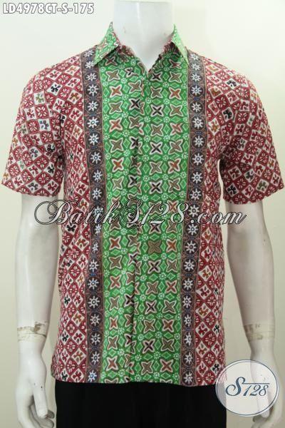 Baju Hem Lengan Pendek Modis Trend Terkini, Pakaian Batik Gaul Lelaki Masa Kini Bahan Halus Proses Cap Tulis, Tampil Rapi Dan Trendy [LD4978CT-S]