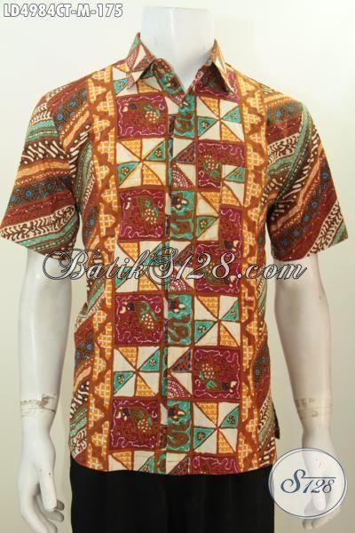 Baju Batik Untuk Kerja Kantoran, Hem Lengan Pendek Bahan Batik Cap Tulis Motif Berkelas Kwalitas Bagus Harga Terjangkau [LD4984CT-M]