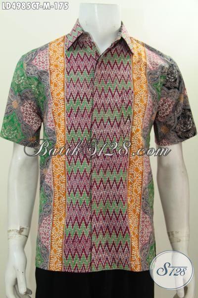 Jual Kemeja Batik Solo Trend Mode Terkini Dengan Motif Kombinasi Yang Atraktif Dan Fashionable, Baju Batik Istimewa Cap Tulis Formal Bisa Santai Bisa, Size M