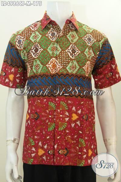 Jual Busana Batik Pria Modern Tampil Modis Dan Gaya, Kemeja Batik Lengan Pendek Desain Motif Trendy Banget Proses Cap Tulis [LD4986CT-M]