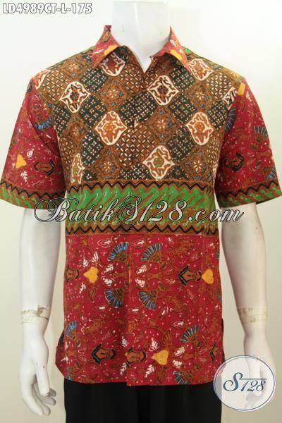 Hem Lengan Pendek Modis Kombinasi Tiga Motif, Batik Jawa Tengah Modern Proses Cap Tulis Sempurnakan Penampilan Pria Sejati, Size L