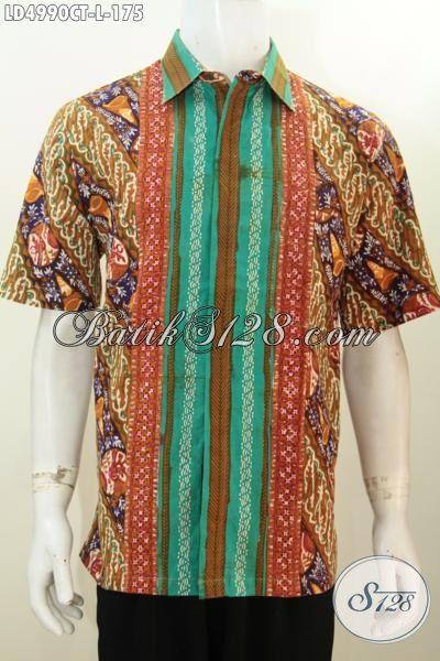 Hem Lengan Pendek Terbaru Bahan Batik Cap Tulis Motif Kombinasi, Baju Batik Trendy  Berbahan Halus Dan Adem, Size L