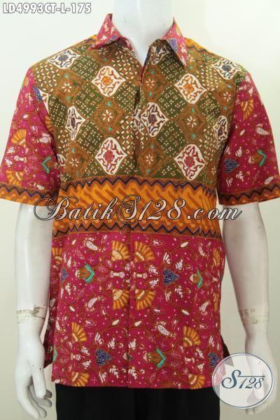 Batik Hem Tiga Motif Desain Berkelas, Baju Batik Istimewa Trend Mode 2015 Berbahan Halus Proses Cap Tulis Keren Buat Hangouts, Size L