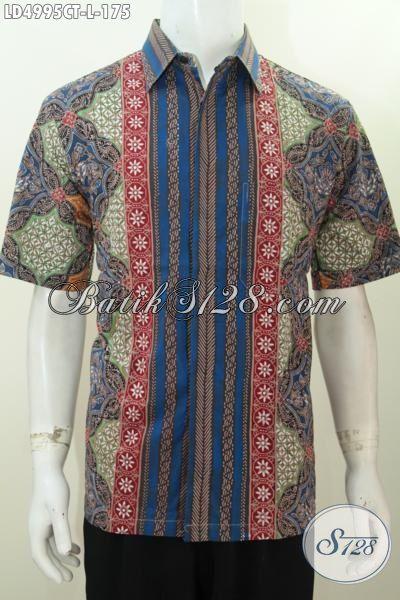 Baju Batik Hem Istimewa Kwalitas Premium Buatan Solo, Produk Busana Batik Lengan Pendek Yang Fashionable Modis Buat Kerja Dan Santai, Size L