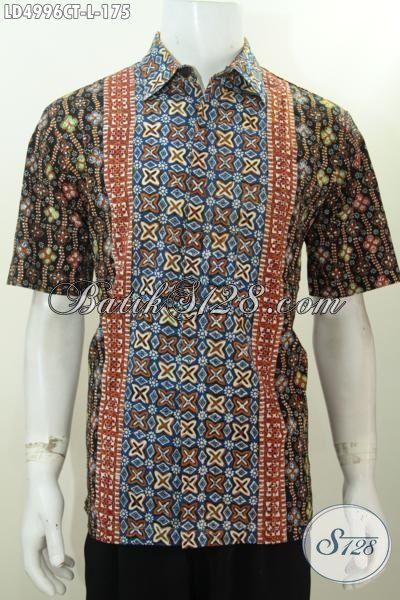 Busana Batik Pria Ukuran L, Hem Lengan Pendek Motif Terbaru Desain Bagus Porses Cap Tulis Untuk Cowok Terlihat Lebih Menawan, Size L