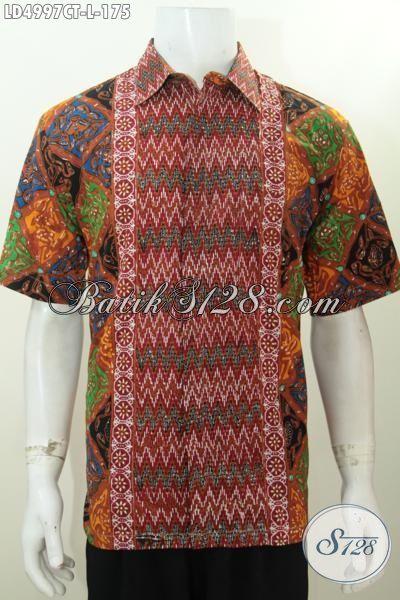 Jual Online Hem Lengan Pendek Batik Halus Khusus Buat Pria Kantoran, Baju Kerja Batik Solo Cap Tulis Lebih Modis Dan Terlihat Tampan, Size L