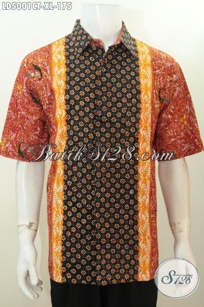 Hem Batik Warna Bagus Dan Terlihat Elegan, Pakaian Batik Cap Tulis Motif Kombinasi Model Lengan Pendek Size XL Pas Banget Buat Ke Kantor