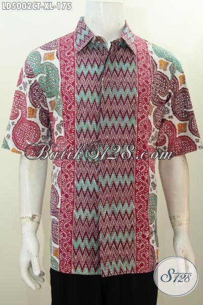 Busana Batik Motif Kombinasi, Baju Lengan Pendek Untuk Cowok Dewasa, Bahan Halus Modis Istimewa Proses Cap Tulis Tampil Makin Gaya [LD5002CT-XL]