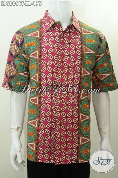 Hem Batik Size XL Motif Kombinasi Modis Untuk Santai Dan Hangouts, Baju Batik Lengan Pendek Cap Tulis Bahan Halus Nyaman Untuk Di Pakai Sehari-Hari