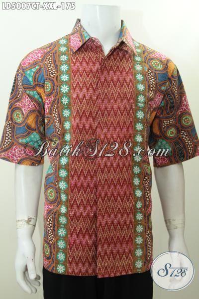 Baju Kerja Bahan Batik Spesial Untuk Pria Berbadan Gemuk, Busana Batik Elegan Dan Trendy Proses Cap Tulis Tampil Lebih Percaya Diri, Size XXL