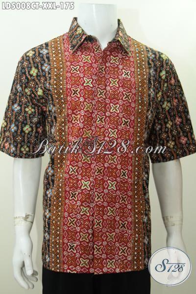 Baju Kemeja Batik 3L Kwalitas Halus Motif Kombinasi, Pakaia Batik Jawa Tengah Trend Mode Terkini Sempurnakan Penampilan Pria Gemuk, Size XXL