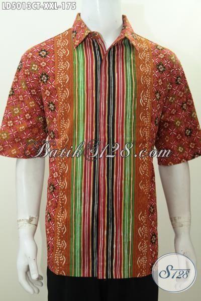Toko Aneka Produk Batik Online, Jual Hem Batik Lengan Pendek Motif Terbaru Untuk Cowok Gemuk Buatan Solo, Batik Cap Tulis Berkelas Trend Mode 2016 [LD5013CT-XXL]