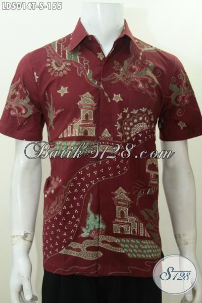 Baju Hem Batik Merah Marun Untuk Remaja Pria Busana Batik