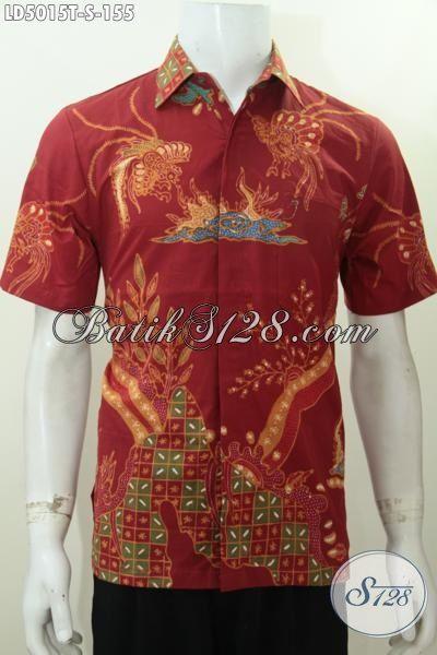 Jual Kemeja Batik Tulis Harga Grosir, Produk Busana Batik Lengan Pendek Motif Keren Dasar Merah Spesial Untuk Para Kawula Muda, Size S
