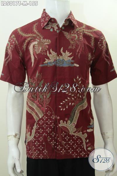 Batik Hem Warna Merah Marun, Kemeja Batik Lengan Pendek Proses Tulis Motif Keren Sekali, Cocok Buat Kerja Dan Kondangan, Size M