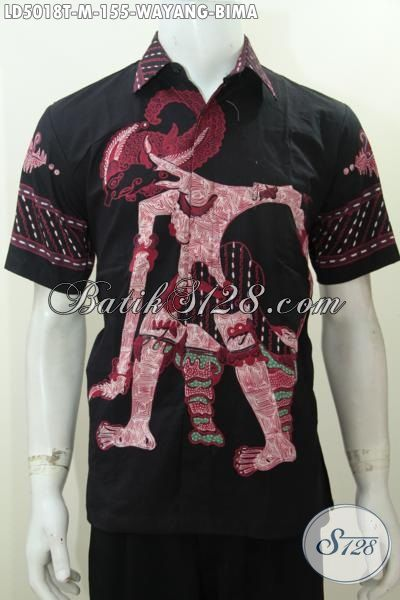 Baju Hem Batik Motif Wayang Bima Model Lengan Pendek, Produk Busana Batik Jawa Etnik Dasar Hitam Tampil Lebih Elegan, Size M