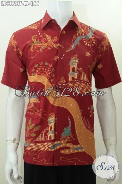 Hem Batik Merah Halus Motif Modern Proses Tulis, Kemeja Batik Lelaki Muda Masa Kini Tampil Gaya Dan Keren [LD5020T-M]