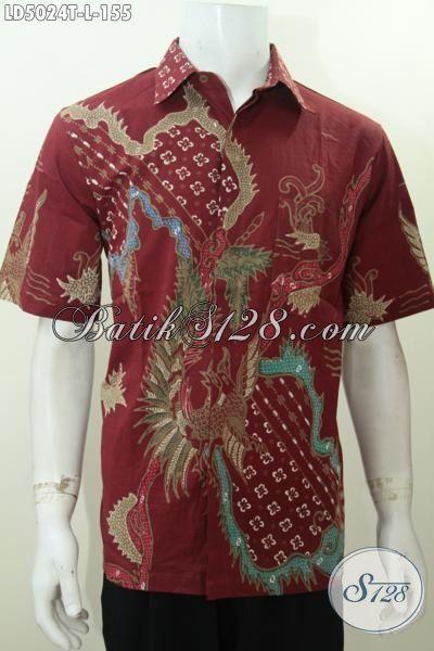 Hem Lengan Pendek Ukuran L Berbahan Batik Tulis Halus, Baju Batik Merah Marun Kwalitas Istimewa Harga Terjangkau, Size L