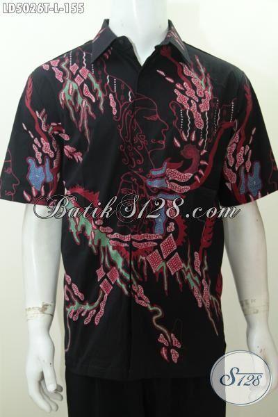 Kemeja Batik Modern Khas Solo Jawa Tengah, Baju Batik Trendy Dan Berkelas Proses Tulis Model Lengan Pendek Harga Murah, Cocok Buat Hangouts [LD5026T-L]