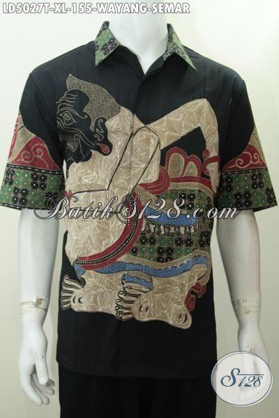 Sedia Online Produk Kemeja Batik Wayang Motif Semar Warna Dasar Hitam, Baju Batik Pria Lengan Pendek Berkelas Di Jual Dengan Harga Grosir, Size XL