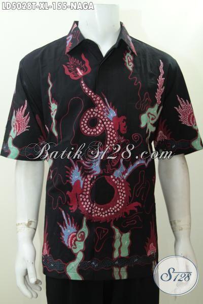 Hem Batik Naga Ukuran XL, Pakaian Batik Pria Dewasa Untuk Tampil Makin Macho, Model Lengan Pendek Proses Tulis Asli Solo