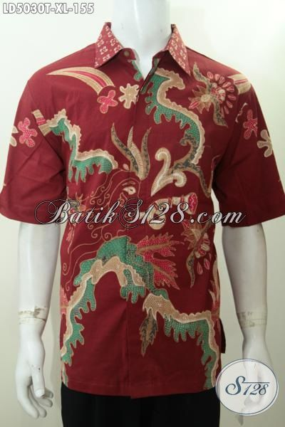 Baju Hem Merah Paling Trendy, Busana Batik Halus Lengan Pendek Motif Gaul Khas Anak Muda, Di Jual Online Dengan Harga Grosir Ukuran XL