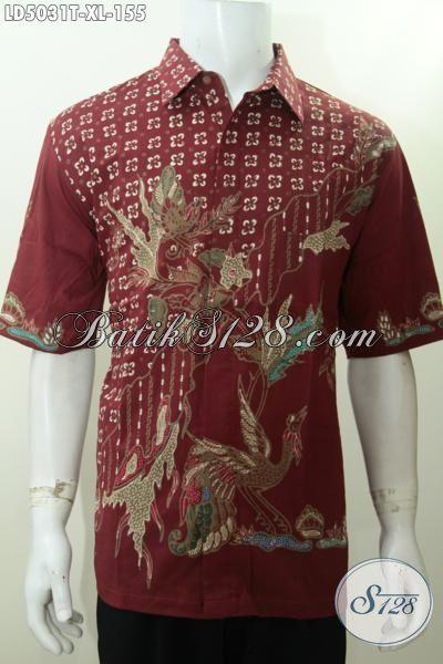 Baju Hem Lengan Pendek Batik Tulis Harga Grosir, Pakaian Batik Merah Berkelas Motif Trendy Hanya 100 Ribuan [LD5031T-XL]