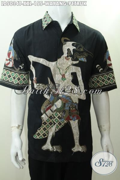 Baju Hem Batik Jumbo XXL, Busana Batik Wayang Edisi Spesial Buat Lelaki Gemuk, Berbahan Halus Proses Tulis Tampil Lebih Ramping