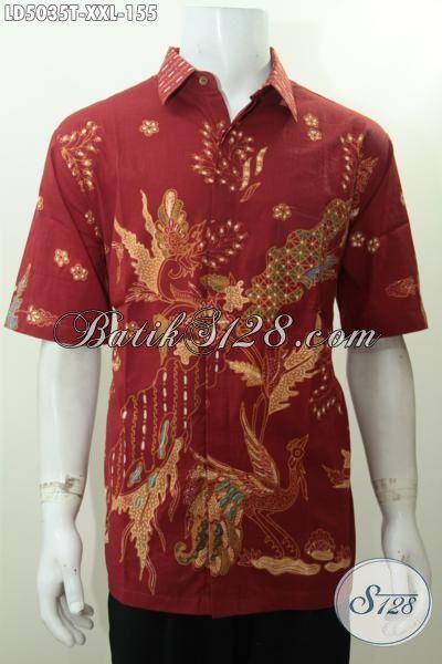 Baju Hem Elegan Ukuran 3L, Baju Batik Halus Warna Merah Proses Tulis Harga Terjangkau Kwalitas Mewah, Spesial Untuk Cowok Gemuk