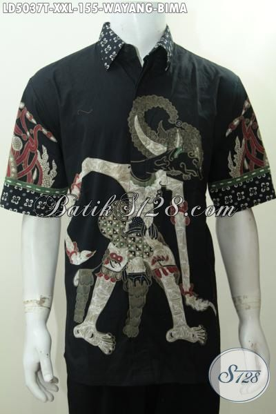 Hem Batik Jawa Halus Motif Bima, Baju Batik Wayang Lengan Pendek Dasar Hitam Pria Tampil Lebih Macho, Size XXL