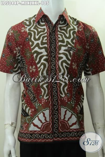 Baju Hem Klasik Motif Matahari Proses Printing, Pakaian Batik Lengan Pendek Modis Istimewa Berbahan Halus Tampil Gaya Dan Gagah, Size M – XL – XXL