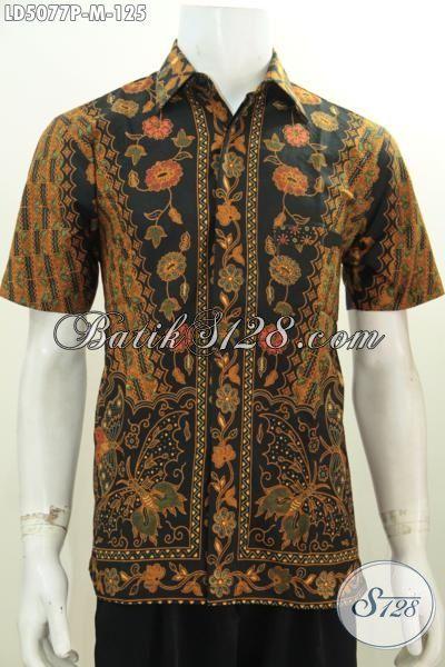 Baju Kemeja Batik Klasik Motif Bunga Model Lengan Pendek, Busana Batik Halus Proses Printing Desain Istimewa Tampil Tampan Maksimal, Size M