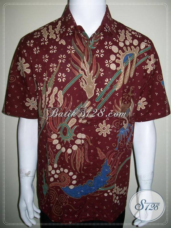 Baju Batik Modern Pria Warna Merah Elegan Dan Ekslusif